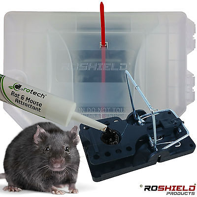 Clear Rat Trap Box Killer - Garden Safe Control Quick - With Bait Attractant