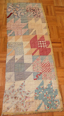 """Antique Maple Leaf Cutter quilt piece 17""""x 45"""" Primitive crafting, Early fabric"""