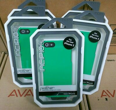 New lot of 5 Incipio Feather ultra thin snap on Green case- iPhone 5/5S-IPH-
