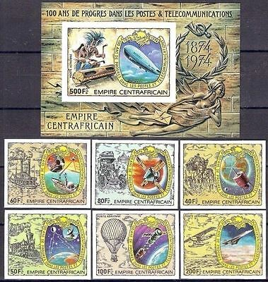 Central Africa 1978 UPU Mail Letter Communication Zeppelin Space Imperf MNH