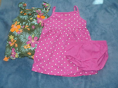 NWT Carter's Girls 3 Piece Pink Dress & Floral Romper Set Size 6 months