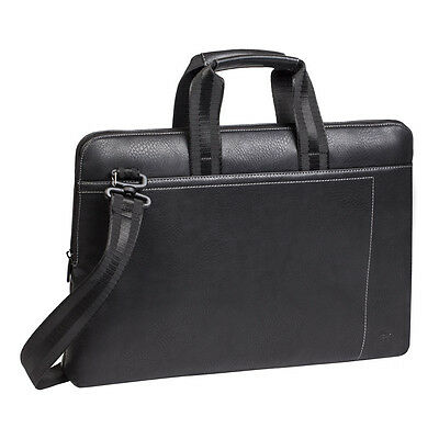 """4260403570296 RIVACASE 8920 Slim Compact Faux Leather Bag for 13.3"""" Laptop Black"""