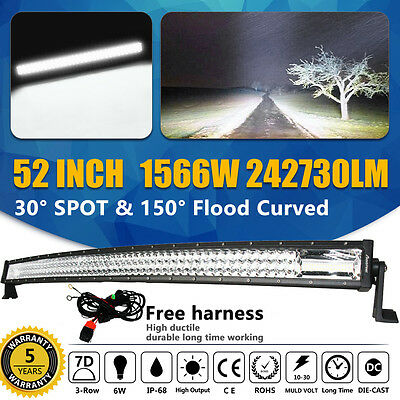 """52"""" in 1566W Curved LED Light Bar Triple Rows Offroad 4X4WD Work Driving Lamp 7D"""