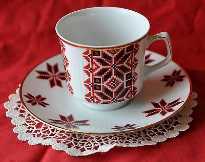 Ukrainian Star Design in Black and Red Cup and Saucer