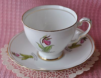 Royal Stafford Bone China/England/ Prince Edward Is Lady Slipper Cup & Saucer