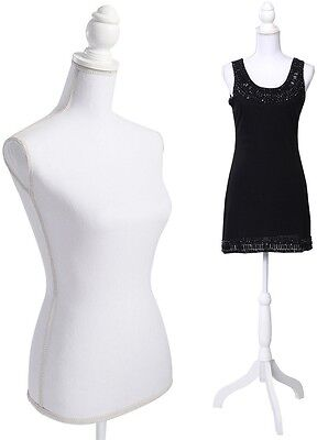 Mannequin Female Form Display Torso Full Dress Body w White Tripod Stand For Top