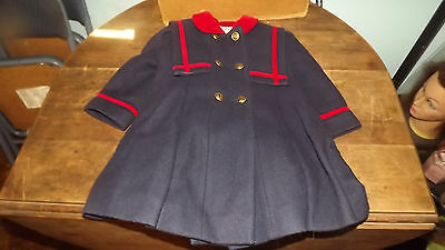 Vintage Childs Rothschild Wool Coat Size 3 With Matching Hat Nice