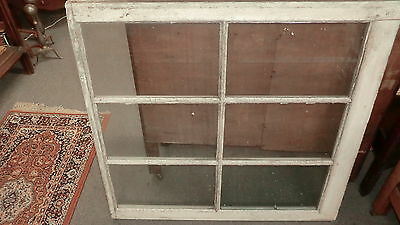 "12 Vintage Old Wood Windows sash 6 pane WITH GLASS picture frame chic 35""x36"""
