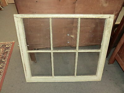 "Vintage Old Wood Windows sash 6 pane WITH GLASS picture frame chic 28"" x 32"""""