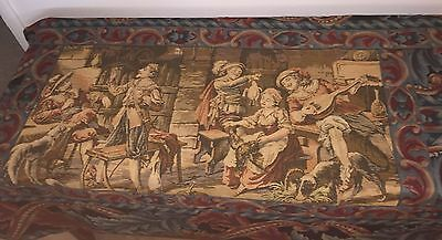 Vintage Beautiful French Romantic Scene Tapestry Wall Hanging 44 1/2 X 53
