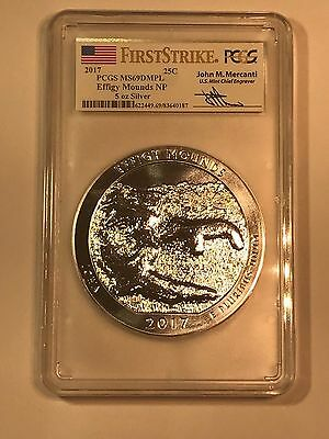 2017  EFFIGY MOUNDS 5 oz ATB AMERICA THE BEAUTIFUL PCGS MS69 DMPL FS MERCANTI