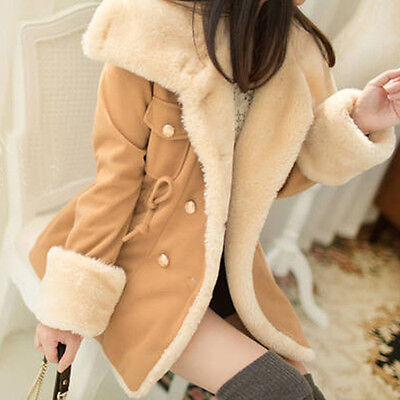 Winter Fashion Warm Double-Breasted Wool Blend Jacket Women Coat Camel F