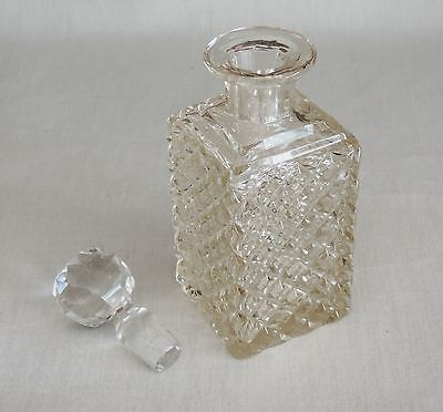 Antique/Vintage Tinted Cut Glass Decanter w/Stopper Diamond Crisscross ABP? HTF