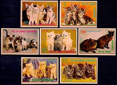 Equatorial Guinea 1976 Puppies Cats Pets Animals 7v Imperf MNH