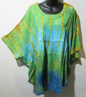 Top Fits 1X 2X 3X 4X PLUS Green Blue Amber Tie Dye Poncho Caftan Tunic NWT G031