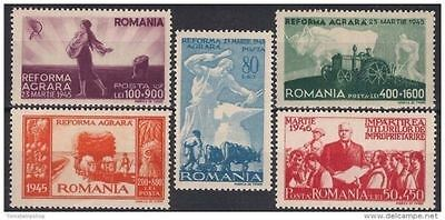 Romania 1946 Farming Tractor Cattle/Oxen Ploughing Crops Fruits Harvest Reform