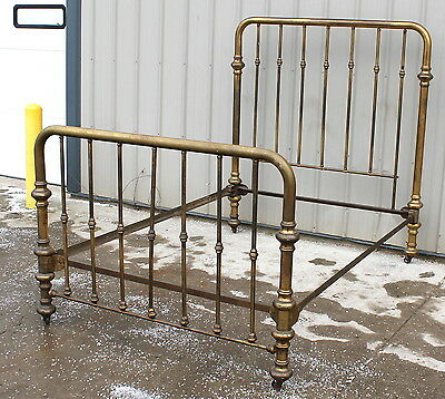 EARLY 1900s FULL SIZE U SHAPED BRASS BED