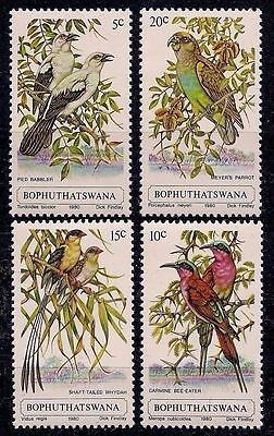 Bophuthatswana 1980 Birds Parrots Branches of trees 4v set MNH