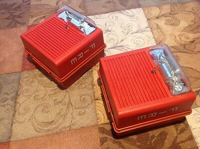 2 Wheelock ASWP-2475W Fire Alarm Horn Strobes WPBB Back Boxes Red