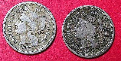 1867 & 1869 Nickel 3 Cent Piece TWO COINS!!