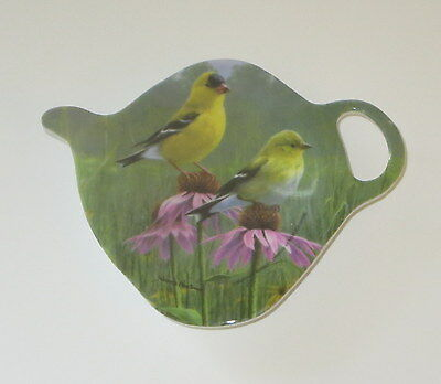 Goldfinch Birds Tea Bag Holder Ashdene New Melamine Teapot Shape Flowers