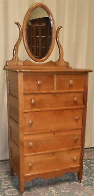 SOLID OAK TALL DRESSER Two Over Four Drawer With Oval Tilt Mirror ANTIQUE