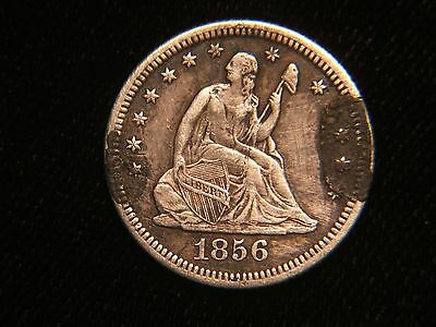 """USA Coin Love Token 1856 Seated Liberty Quarter Initials """" F to N..J.."""" Design"""