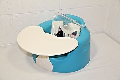 Blue Bumbo Baby/Infant/Toddler Floor Seat w/ NEW Safety Strap Kit & Tray- CLEAN!