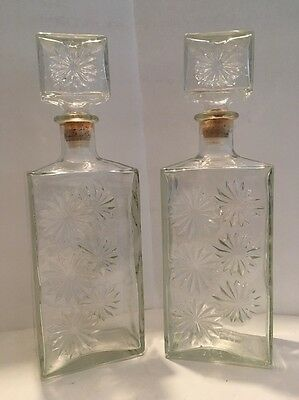 Antique Glass Decanter Set Of 2 Cut Glass