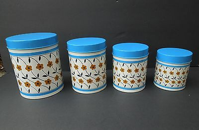 Vintage Set 4 Blue Yellow Nesting Tin Flowers Metal Kitchen Canisters MC Japan