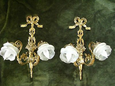 Antique Pair French Rose Shades Ribbon And Basket Wall Sconces Lights GORGEOUS!
