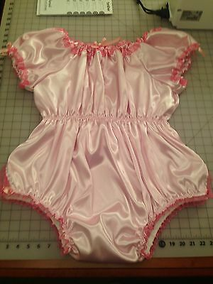 Pink ABDL Adult Baby Satin One Piece Bubble Romper