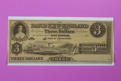 1800's $3 Bank of New England Ct East Haddam At Goodspeeds Landing Obsolete Note