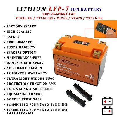 Lfp-7 Lithium Motorcycle Battery For 2008 - 2015 Ktm 300 Exc Ytx5Lbs Ytx5L-Bs