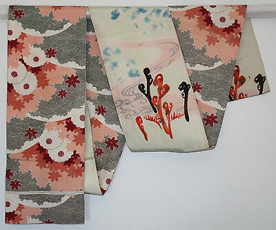 Vintage Japanese Silk Kimono Obi Textile Hand Painted Autumn Flowers