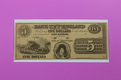 1800's $5 Bank of New England Ct East Haddam At Goodspeeds Landing Obsolete Note