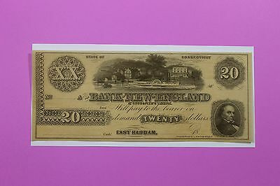 1800's $20 Bank of New England Ct East Haddam At Goodspeeds Landing Obsolete