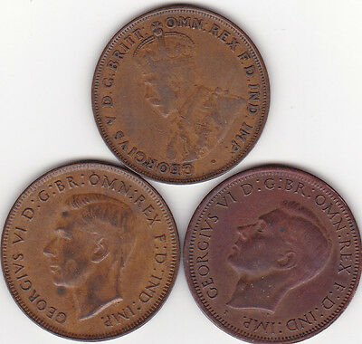 Australia (3) Coin Lot 1922 - 1942 And 1943  Large Pennies