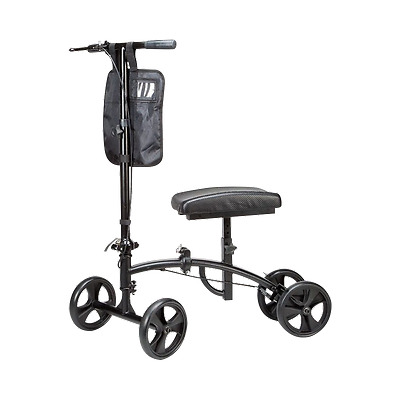 Steerable Foldable Knee Walker Scooter w/Pouch Black 300 Lb. Cap. New Cardinal