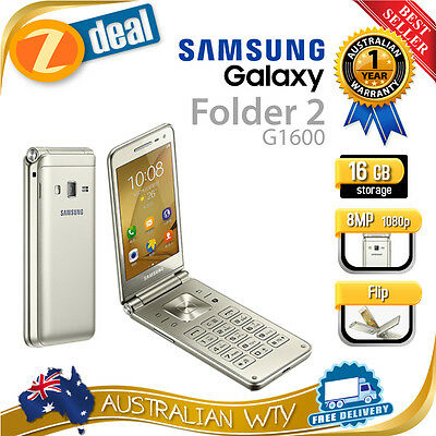 (New Sealed Box) Samsung Galaxy Folder 2 G1600 Gold 16Gb Unlocked Phone Aus Wty