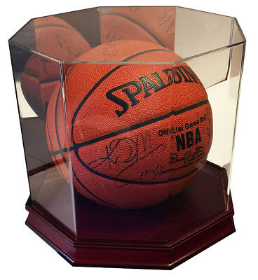Executive Wood Octagon UV Full Size Basketball Display Case w/ Mirror - Cherry