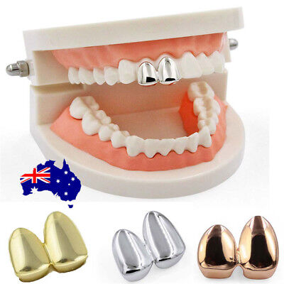 Hip Hop 14K Gold Plated Double Two Tooth Teeth Grillz Grill Canine Cap ON