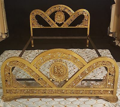 ORNATE ANTIQUE 19thC FRENCH ART NOUVEAU BRASS  ORMOLU BED FIGURAL CHERUBS