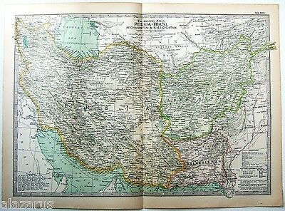 Original 1902 Map of Persia, Afghanistan & Baluchistan by The Century Company