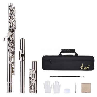 Western Concert Flute Silver Plated 16 Holes C Key with Padded Bag+Care Kit E0B6