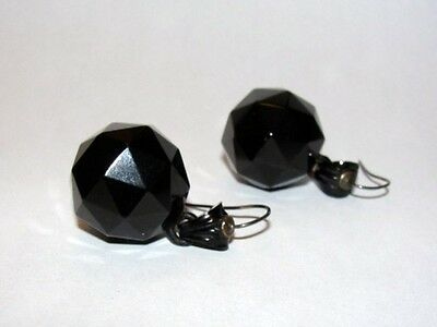 Victorian Gutta Percha Steel Pyramid Dangle Ball Drop Earrings
