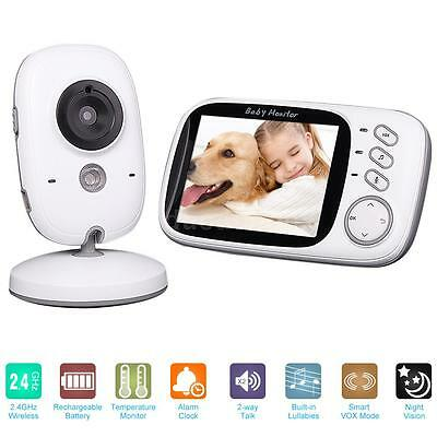 "Wireless 3.2"" Video Audio Baby Monitor + Thermometer Night Vision Camera AU J0E6"