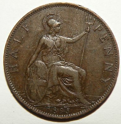 1895 Great Britain 1/2 Penny Cent Coin Queen Victoria Veiled Copper Antique Lot