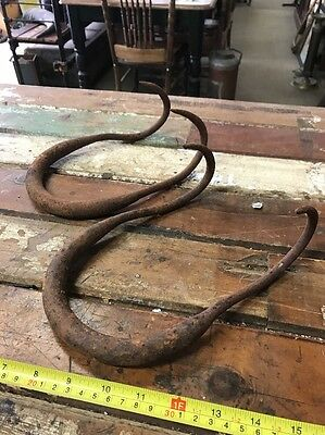 2 Old Wool Bale Hooks Vintage Antique Hook Shearing Farm