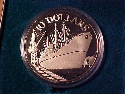 Republic Of Singapore $10 Dollars Silver Proof Crown 1976 Cargo Ship Wood Box